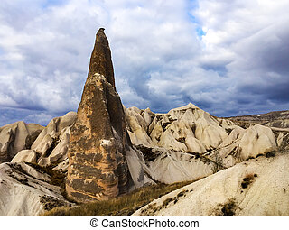 Beautiful scenery of Cappadocia rocks in Turkey