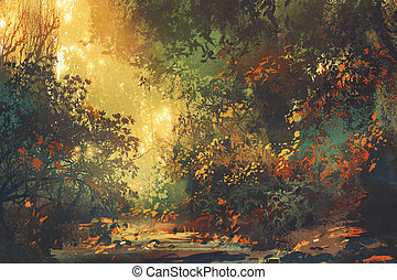Colorful Forest With Trees And Flowers In Spring At Sunse