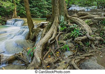 Beautiful scenery of Erawan Waterfall in Kanchanaburi, Thailand.