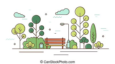 Beautiful scenery of garden square with trees, bushes, benches and street light. Colorful line art city park landscape. Local outdoor recreational area. Vector colored linear illustration