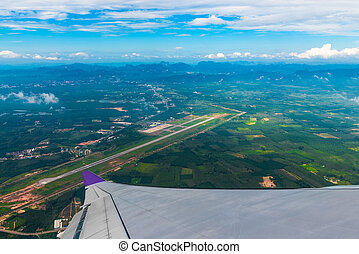 beautiful scenery of Thailand from the airplane window