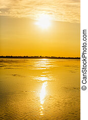 Beautiful scenery with a golden sunset in the Danube Delta