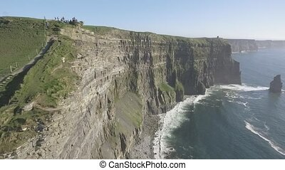 Beautiful Scenic Aerial drone view of Ireland Cliffs Of...