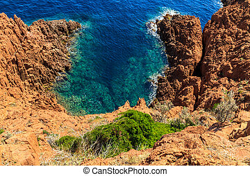 Beautiful Scenic Coastline on the French Riviera near Cannes, France