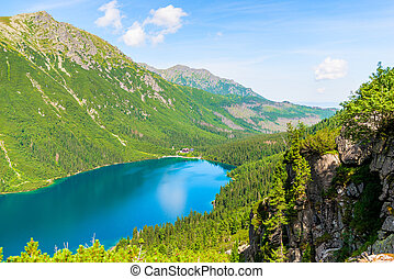beautiful scenic Lake Morskie Oko on a sunny summer day, view from the mountain
