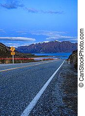beautiful scenic of lake hawea route between aspiring...
