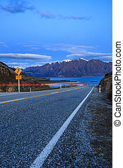 beautiful scenic of lake hawea route between aspiring...