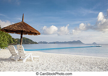 beautiful scenic of white tropical sand beach in southern andaman island myanmar