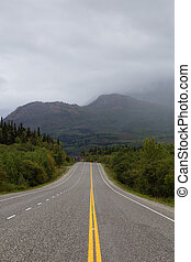 Beautiful Scenic Road, Klondike Hwy, in the Canadian Nature