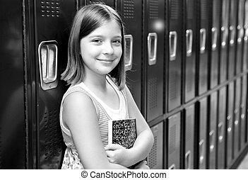 Beautiful School Girl BW - A pretty school girl leaning ...