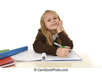 beautiful schoolgirl in school uniform with blond hair...