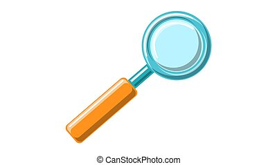 Beautiful scientific medical optical glass magnifier for approaching and searching with a wooden handle on a white background. Vector illustration