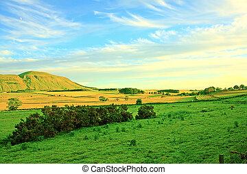 Beautiful Scottish landscape with rocky hills