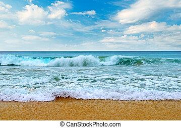 Beautiful sea and blue sky background.