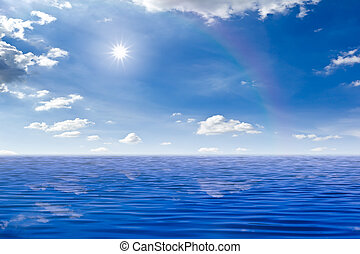beautiful sea and sun in blue sky