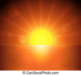 Beautiful sea and sunset illustration