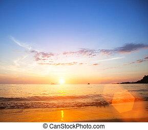 Beautiful sea beach sunset.
