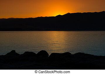 Beautiful Sea coastline sunrise landscape in Croatia