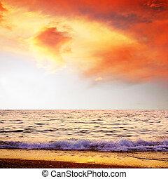 Beautiful sea nature landscape on the sunrise sky