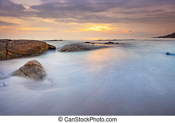 beautiful sea scape and sunset sky at had mae rumphumg rayong province eastern of thailand