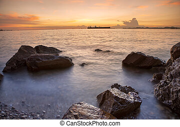 beautiful sea scape and sunset sky at laem chabang chonburi eastern of thailand