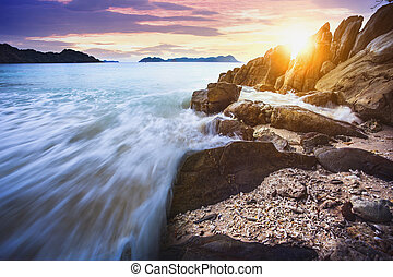 beautiful sea scape of nyang oo phee island most popular traveling destination in southern of myanmar - thailand