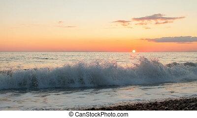 beautiful sea timelapse sunset on mediterranean sea in...
