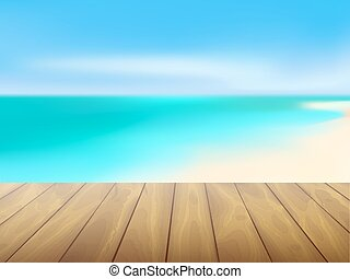 Beautiful sea view and wood planks floor background, Vector illustration