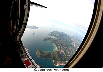 beautiful sea view from the door of plane