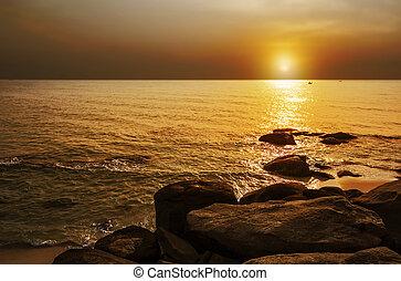 Beautiful sea with reflection light at sunrise