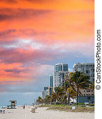 Beautiful seafront of Fort Lauderdale. Beach in Florida