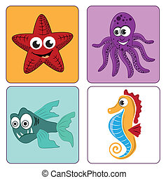 beautiful sealife - four beautiful and colorful icons of the...