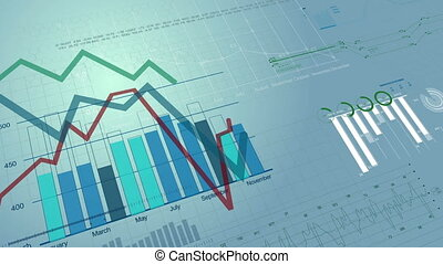 Beautiful seamless 3d animation of Stock Market Charts Growing. Financial Figures and Diagrams Growing on Digital background. Looped. HD 1080.