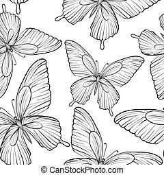 Beautiful seamless background of butterflies black and white colors. Hand-drawn contour lines and strokes.