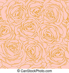Beautiful seamless background of pink roses with a gold outline in vintage style. Many similarities to the author's profile