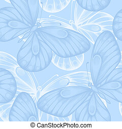 Beautiful seamless background with blue butterflies