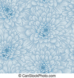 Beautiful seamless background with blue dahlia. Hand-drawn...