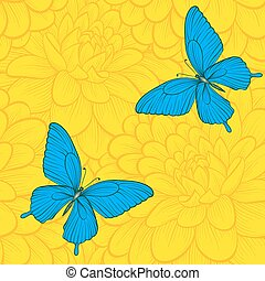 Beautiful seamless background with butterflies and dahlias.