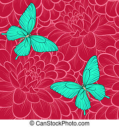 seamless background with butterflies and dahlias. Hand-drawn contour lines. Perfect for background greeting cards and invitations of the wedding, birthday, Valentine's Day