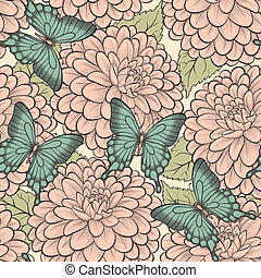 Beautiful seamless background with butterflies and dahlias pastel retro colors