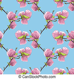 Beautiful seamless background with blooming magnolia tree branches.