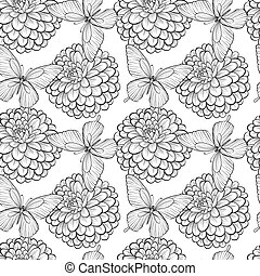 Beautiful seamless background with monochrome black and white butterflies and dahlias. Hand-drawn contour lines and strokes.