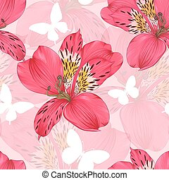 Beautiful seamless background with pink and red alstroemeria...