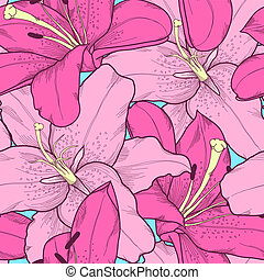 Beautiful seamless background with pink lilies hand-drawing...