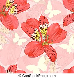 Beautiful seamless background with red alstroemeria flower,...