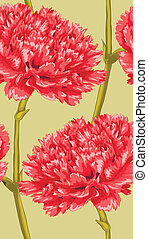 Beautiful seamless background with red carnation.