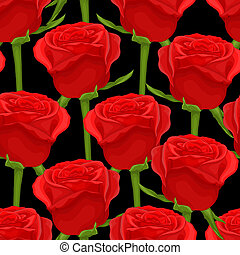 Beautiful seamless background with red roses on black