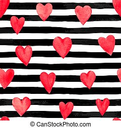 Beautiful seamless background with red watercolor hearts on horizontal ink, black and white stripes.