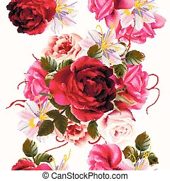 Beautiful seamless background with roses and huasinth flowers  vector illustration.eps