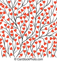 Beautiful seamless background with tree branches and leaf heart.